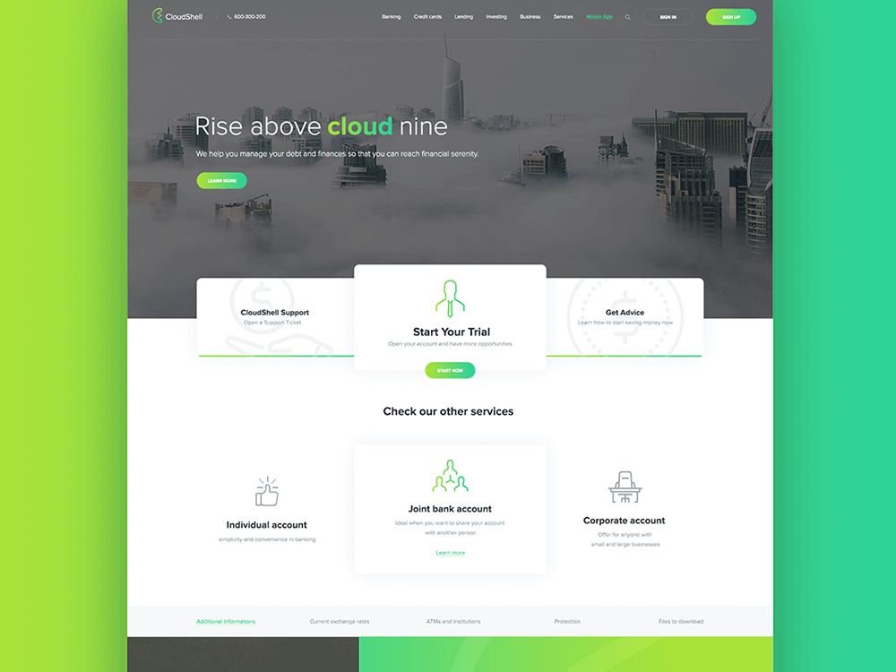CloudShell Mobile App, Landing Page